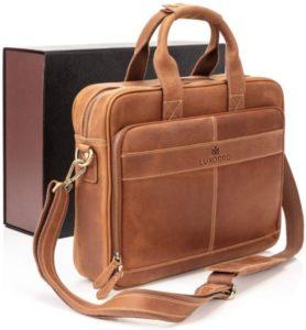 Luxorro Man Leather Laptop Bags, Maletín para Hombre