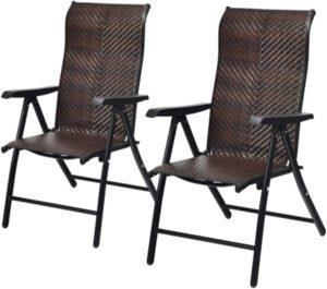 Tangkula - Silla reclinable plegable de ratán para patio de 2 piezas
