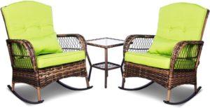 Juego de conversación de patio de 3 piezas, sillas mecedoras de mimbre