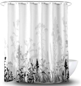 Forro de cortina de ducha de flores en blanco y negro