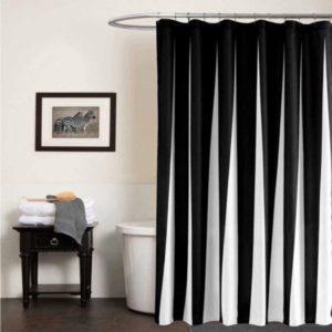 Cortina de ducha de tela a rayas blancas y negras con ganchos