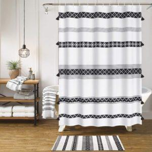 Cortina de ducha HAOCOO borla Boho Cortinas de ducha de tela en blanco y negro