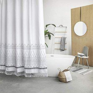 Cortina de ducha de tela con borlas YoKii