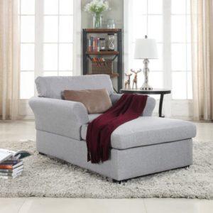 Chaise Lounge de salón de tela de lino clásico grande