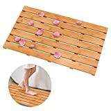 Alfombrilla de ducha de baño de bambú de madera Domax, antideslizante, impermeable, grande, para suelo de baño, para interiores y exteriores, natural, 31,3 x 18,1 x 1,5 pulgadas
