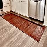 iDesign Formbu Alfombra de bambú para piso antideslizante, resistente al agua, para baño, cocina, entrada, pasillo, oficina, Mudroom, tocador, 72 'x 24', Mocha Brown, 81438