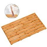 Alfombrilla de madera de bambú para baño para ducha de lujo - Alfombra impermeable antideslizante para baño para uso en interiores o exteriores (31,3 x 18,1 x 1,5 pulgadas)