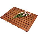 Utoplike Alfombrilla de baño de madera de teca, alfombrilla de ducha antideslizante para baño, alfombrilla de madera cuadrada grande para spa en casa o al aire libre (24 x 18 pies)