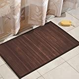 iDesign Formbu Alfombra de bambú para piso, antideslizante, resistente al agua, para baño, cocina, entrada, pasillo, oficina, sala de estar, tocador, 34 'x 21', marrón moca