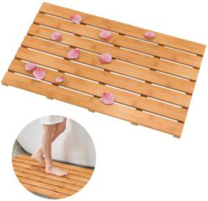 Alfombrilla de ducha de baño de bambú de madera Domax