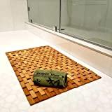 Alfombrilla de baño de bambú elegante y juego de toallas de mano de bambú Alfombrilla antideslizante y resistente al agua Respetuoso con el medio ambiente para baño y cocina Alfombra grande de 27 'x 16'