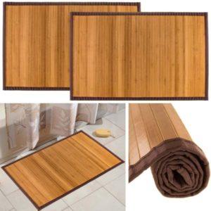 Bambú (paquete de 2) Alfombrillas de baño antideslizantes resistentes al agua Ducha antideslizante