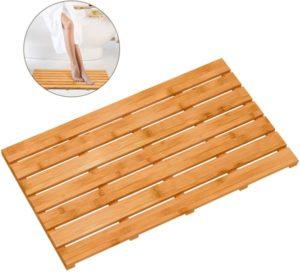 Alfombrilla de bambú para baño de madera para ducha de lujo
