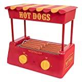 Nostalgia HDR8RY perrito caliente Warmer 8 tamaño regular, 4 pies de largo y 6 bollos de capacidad, rodillos de acero inoxidable, perfecto para salchichas de desayuno, mocosos, taquitos, rollos de huevo, rojo / amarillo
