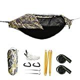 Hamaca para acampar con mosquitera y cubierta para lluvia, hamaca portátil ligera para mochileros al aire libre, senderismo, viajes (camuflaje)