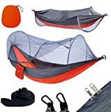 YOOMO Hamaca para acampar con mosquitera y hamaca de 10 pies Correas para árboles Cama de viaje de tela de paracaídas liviana para senderismo, mochilero, patio trasero. (Gris / naranja)