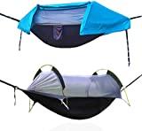 OHMU Hamaca para acampar con mosquitera y cubierta para moscas, carpa portátil para hamaca (azul)