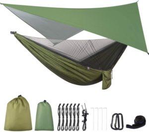 FIRINER Hamaca para acampar con lona para lluvia