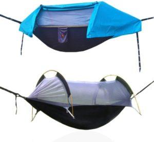 Hamaca para acampar con mosquitera y cubierta para lluvia