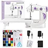 Magicfly Mini máquina de coser para principiantes, máquina de coser portátil de doble velocidad con mesa de extensión, luz, kit de costura para el hogar, viajes