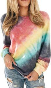 Sudaderas con cuello redondo y efecto tie dye para mujer