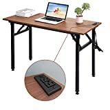 Frylr - mesa plegable para ordenador con enchufes y puertos USB, escritorios de oficina en casa, mesa de estudio plegable de 43.3 x 19.6 x 29.5 pulgadas para mesa de estudiantes para PC / ordenador portátil, sin instalación, nogal + pata negra