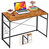 Mr IRONSTONE - mesa plegable para ordenador de 39.4 pulgadas, mesa de fácil montaje con 10 ganchos, marco de metal plegable, mesa de mesa para ordenador portátil para oficina en casa (Vintage)