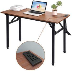 mesa plegable para ordenador Frylr con enchufes y puertos USB