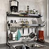 Rejilla para secar platos sobre fregadero, estante para platos de cocina ajustable de acero inoxidable de 2 niveles de almacenamiento grande (24,41 '' - 37,6 ''), rejilla para escurridor de platos extensible con soporte para utensilios y juego para colgar tazas