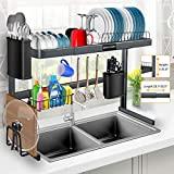 Rejilla para secar platos sobre el fregadero, rejilla para secar platos sobre el fregadero de acero inoxidable de altura (1-21.8 '') y longitud (23.7-33.5 '') ajustable para platos y utensilios, organización y almacenamiento de encimeras de cocina
