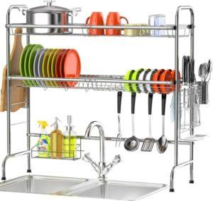 Veckle Escurridor de platos de pie con estante para platos de 2 niveles