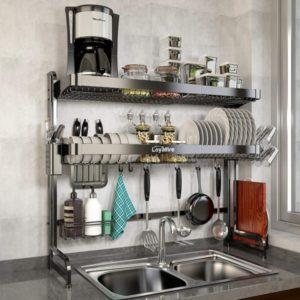 Estante para platos de cocina ajustable de 2 niveles de acero inoxidable con almacenamiento grande