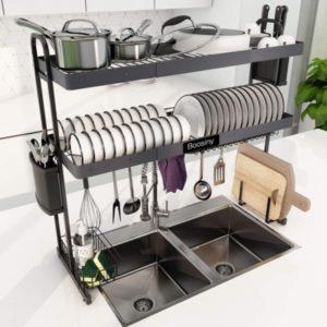 Rejilla para secar platos sobre el fregadero, rejilla de cocina ampliable grande de acero inoxidable de 2 niveles Boosiny