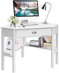 Escritorio de esquina blanco, escritorio de esquina para computadora con cajón