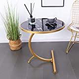 HuiDao Mesa auxiliar redonda en forma de C de madera con acabado de textura de mármol, mesa auxiliar para sala de estar, dormitorio, espacios pequeños, oficina, cama, sofá, sofá, 22 '(D) x24 (H), (Negro)