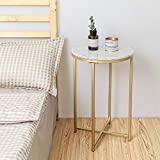 Mesa auxiliar redonda con tapa de mármol y base dorada, mesita de noche moderna pequeña para sala de estar del dormitorio, 16 'D 25' H