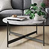 Nathan James Piper - Mesa de centro moderna redonda de mármol sintético para sala de estar con marco de metal, color negro