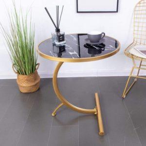 Mesa de centro de mármol de madera en forma de C
