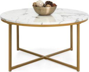 Best Choice Products Mesa de centro lateral decorativa redonda moderna de mármol sintético de 36 pulgadas