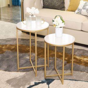 Mesa auxiliar redonda con tablero de mármol y base dorada