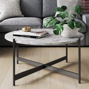 Mesa de centro redonda de mármol para sala de estar moderna