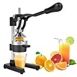 Exprimidor de limón y naranja de metal comercial Yaheetech - Exprimidor de frutas manual de alta resistencia con embudo de acero inoxidable negro