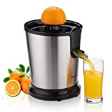 Exprimidor de cítricos Homeleader, exprimidor de zumo de acero inoxidable, exprimidor de naranja eléctrico con dos conos, motor potente para toronjas, naranja y limón, negro