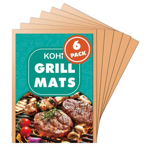 Alfombrillas de cobre Kohi para barbacoa antiadherentes para barbacoa de gas, parrilla de carbón