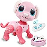 RACPNEL Robot de juguete para perros con control remoto, RC Interactive Intelligent Walking Dancing Programmable Robot Puppy con detección de gestos, luces y sonidos para niñas, regalos para niños de 3 años en adelante, rosa