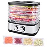 Máquina deshidratadora de alimentos Seeutek para carne seca, frutas, verduras, secadora eléctrica con 5 bandejas sin BPA, control de temperatura ajustable, libro de recetas y 4 bolsas de almacenamiento reutilizables