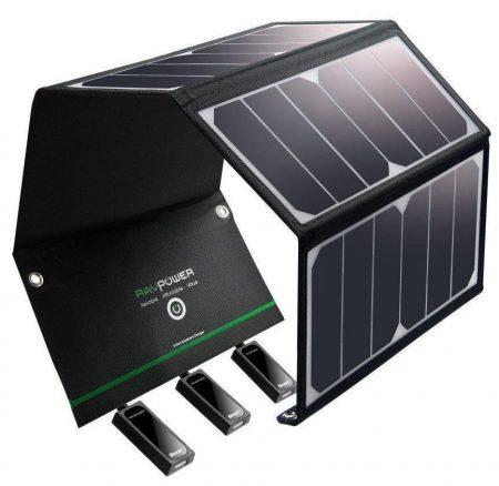 Cargador solar RAVPower 24W Panel solar con puertos USB triples Impermeable Plegable para móviles inteligentes, tabletas y viajes de campamento