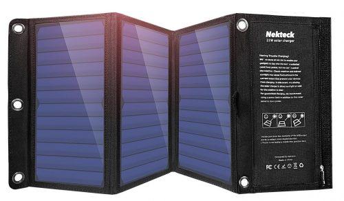 Cargador solar Nekteck de 21 W con cargador USB de 2 puertos Construido con cargadores de móvil solares y solares de alta eficiencia