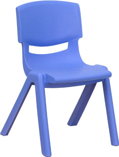 Silla escolar apilable de plástico azul Flash Furniture