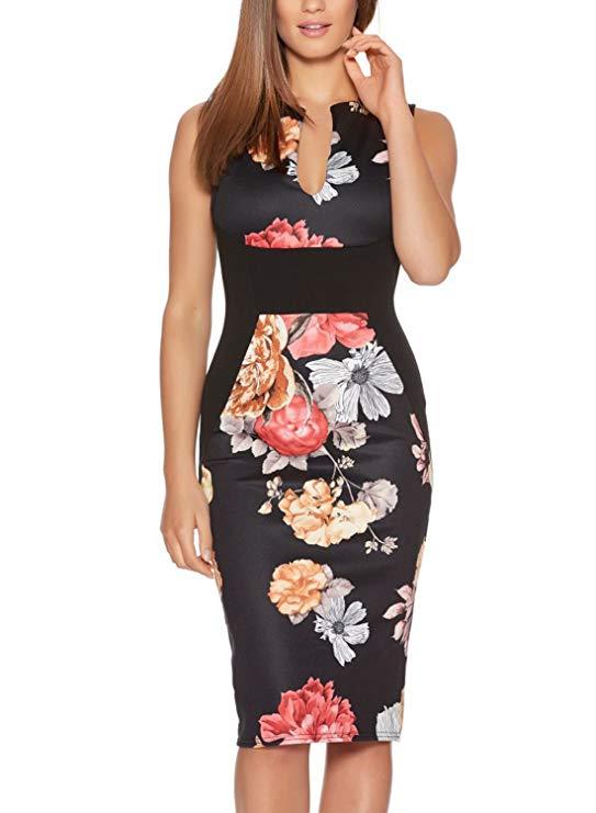 Fantaist Vestido de tubo de cóctel sin mangas con cuello en V profundo y estampado floral para mujer